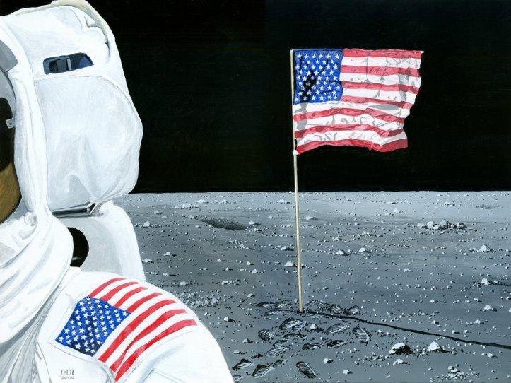 Resultado de imagen para flag on the moon