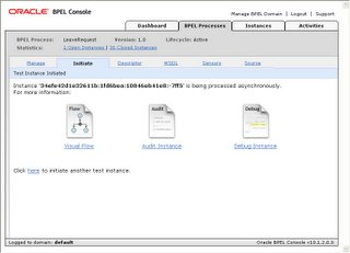 Figure 5, BPEL process monitoring options using the Oracle BPEL Console Interface