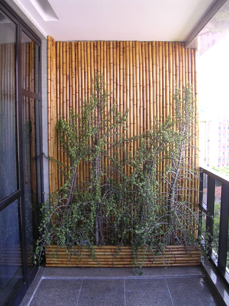 Oficina de bambu Painel com jardineira