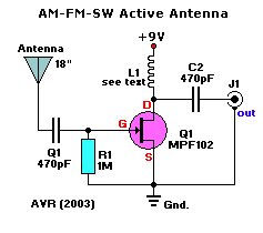 Electronics Circuit Diagrams & Schematics: Active Antenna
