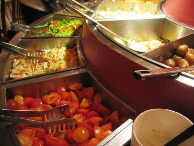 Closeup of salad and pasta bar