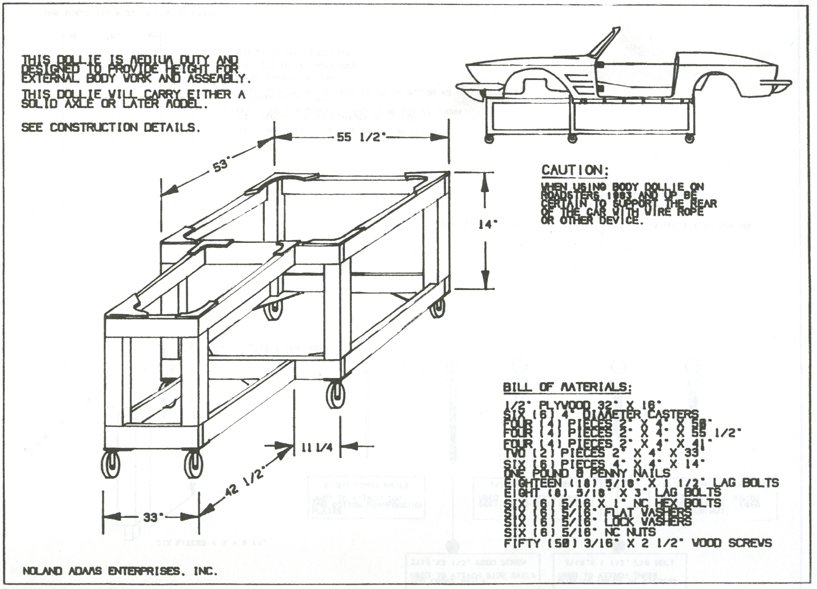 1977 Corvette Restoration Project: Body dolly assembly