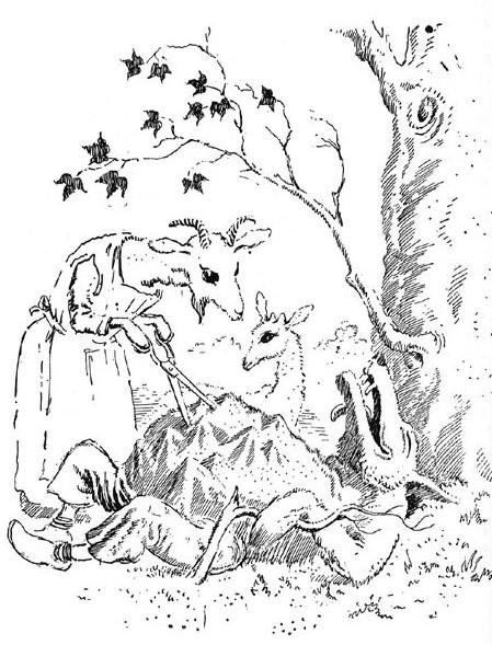 Los Siete Cabritillos Y El Lobo Para Colorear