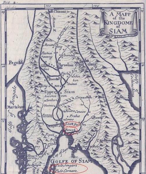 Peta La Loubere, Siam berhampiran Bangkok tahun 1691