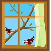 window clipart clip open closed cartoon bedroom fotosearch birds shutters illustrations csp388