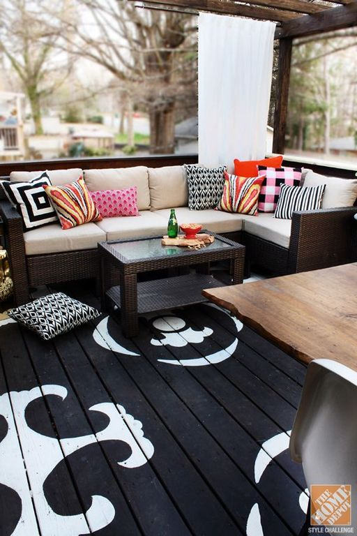 Stenciled Floors Patio Outdoor Seating Bench Throw Pillows Black and White Deck Flooring