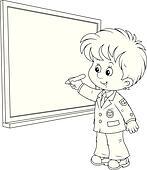 Clipart of Schoolboy writes on the blackboard k19610920
