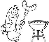 Umrissen glücklich sausage mit sausage Clip Art