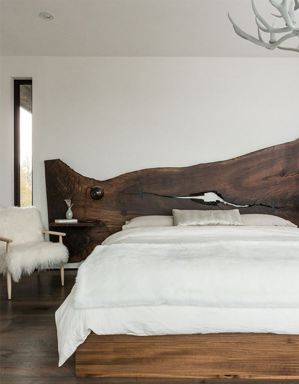 Unique Headboard Ideas Bedroom with Natural Wood Slab Headboard Rustic Bedroom Design