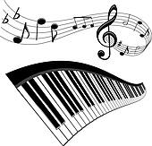 Clip Art of A Treble Clef made from Beethoven's piano