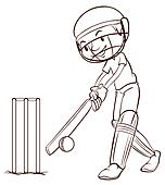 Clipart of A simple sketch of a man playing cricket