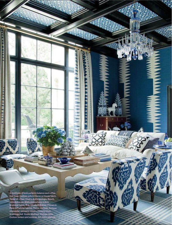 Craftsman Living Room with Gore Dean Home Blue and White Pagoda Tower, Skyline furniture fabric slipper chair, Chandelier