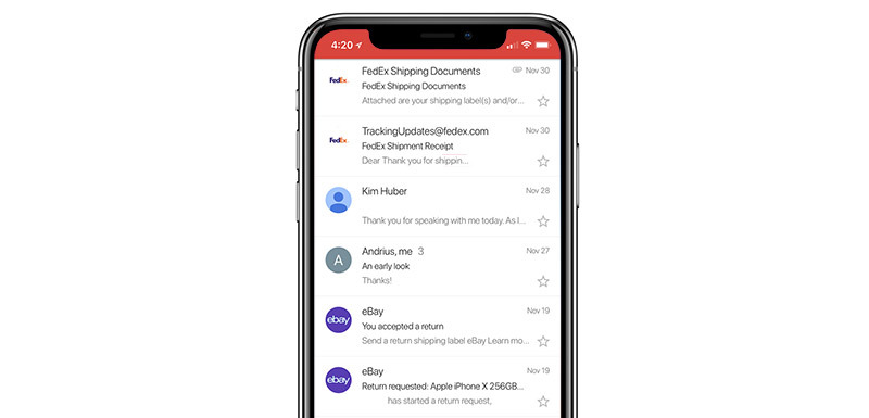 Gmail updated to take advantage of iPhone X display, add