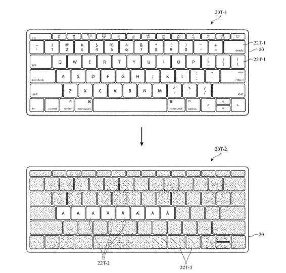 An example of how an augmented reality overlay could change the layout of a real-world keyboard
