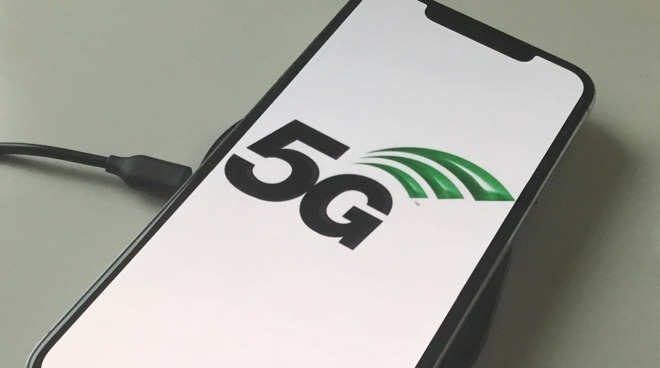 5G logo on an iPhone