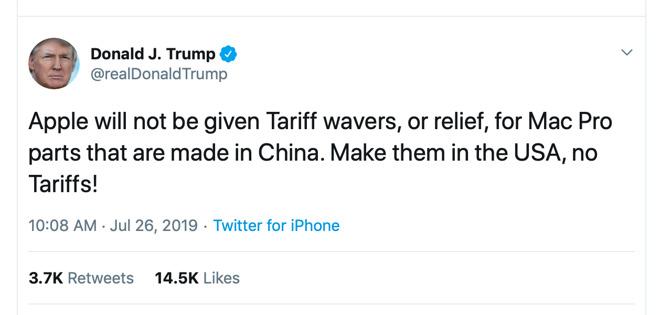 Твиттер президента Дональда Трампа в отношении отмены тарифов Apple Mac Pro