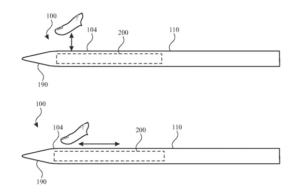 Detail from the patent showing (top) a tap or press, and (bottom) a swipe gesture
