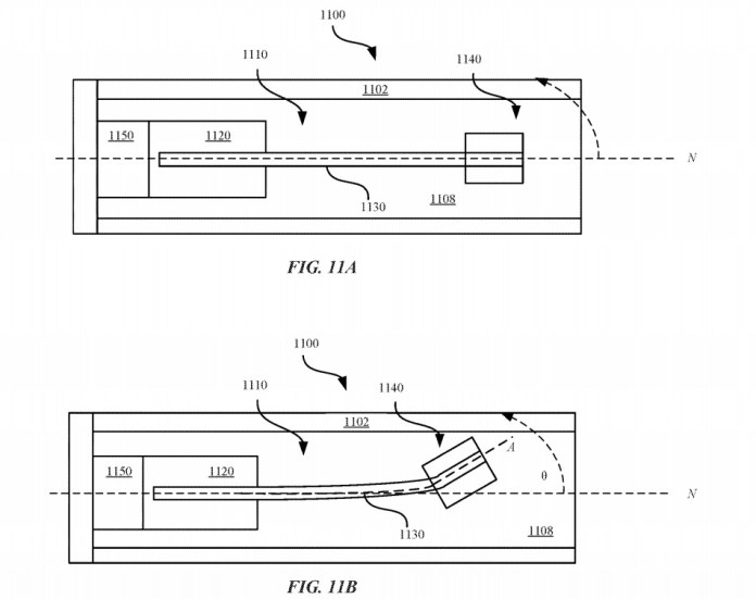 A piezoelectric beam and weight could produce vibrations or weight shifts within an Apple Pencil.