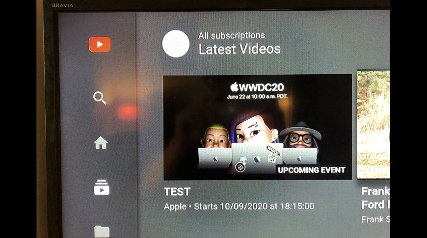 A screenshot allegedly showing Apple's 'Test' stream for September