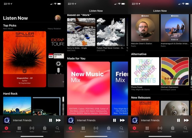 The new Listen Now is your home for personalized recommendations.
