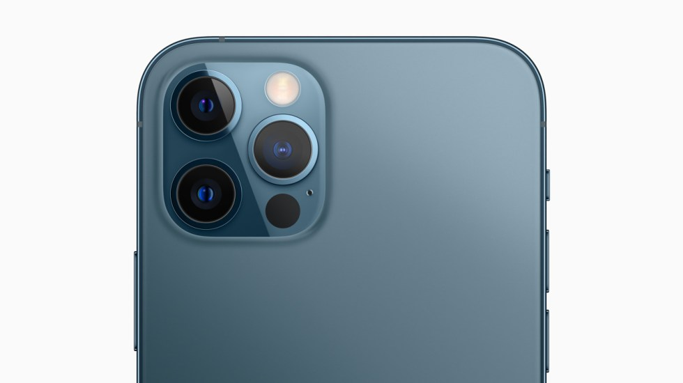 The three cameras on the iPhone 12 Pro, as well as the new LiDAR sensor