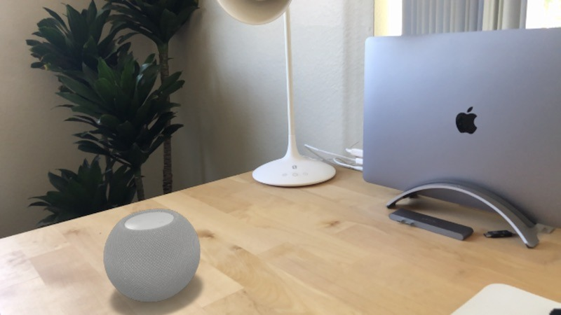 The HomePod mini in AR.