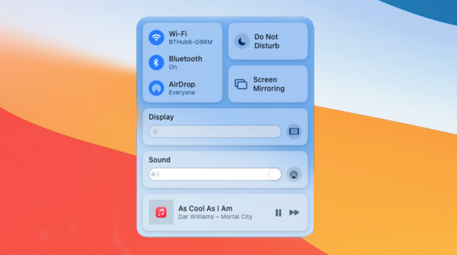 The new Control Center in macOS Big Sur