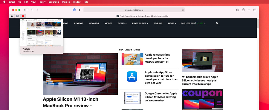Safari's new preview works with pinned tabs too