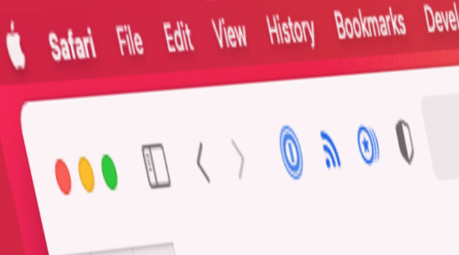 Safari positions extensions to the left of the address bar