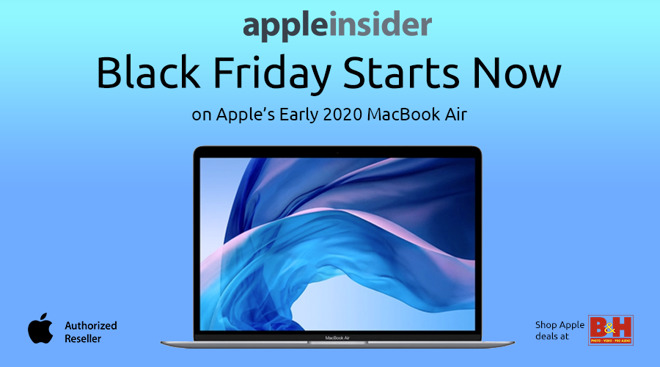 Apple MacBook Air with Black Friday Starts Now message