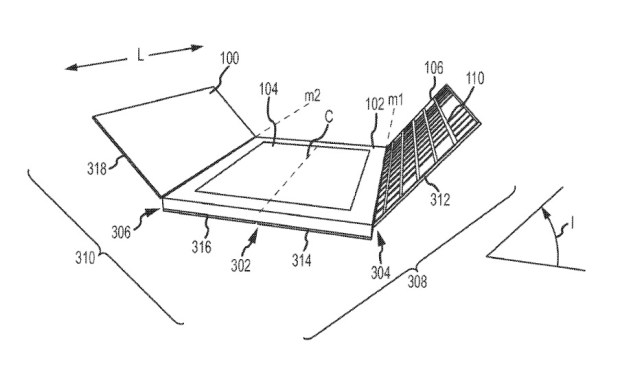 Patented detail showing a view of the front-and-back iPad cover including a keyboard