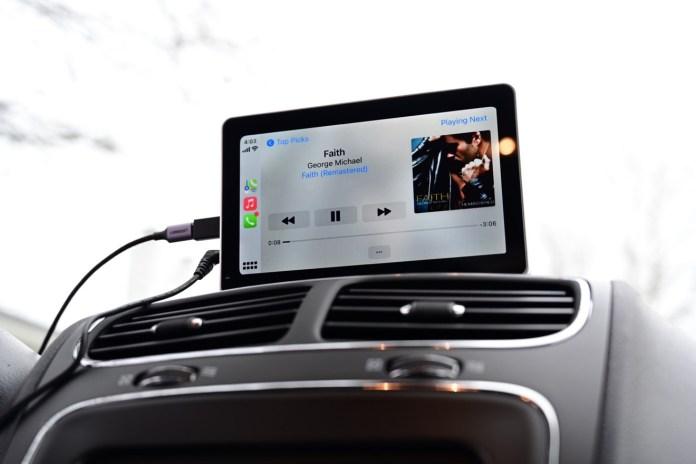 Apple Music playing through CarPlay on the Intellidash+ speakers