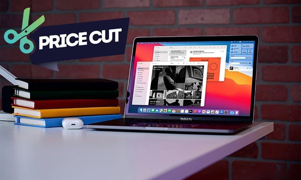 M1 MacBook Pro 13 inch with price cut scissors badge