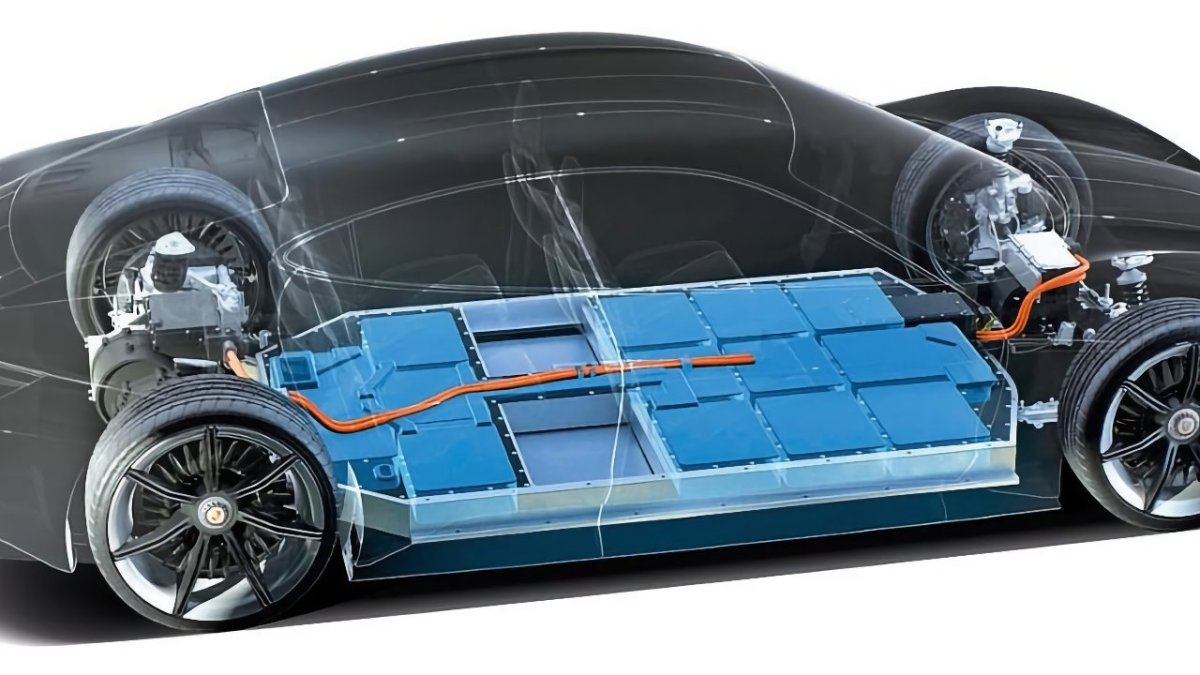Porsche's 800-volt battery pack, located in the floor of the car.