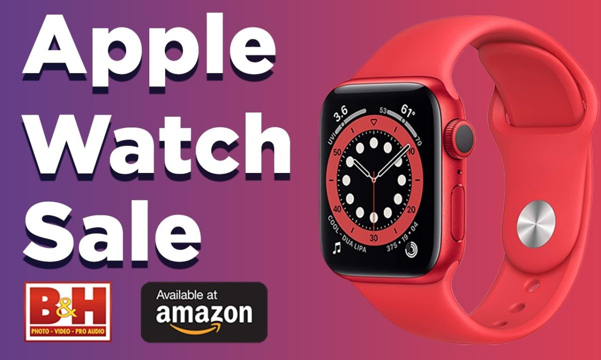 Apple Watch in red with sale text at B&H and Amazon