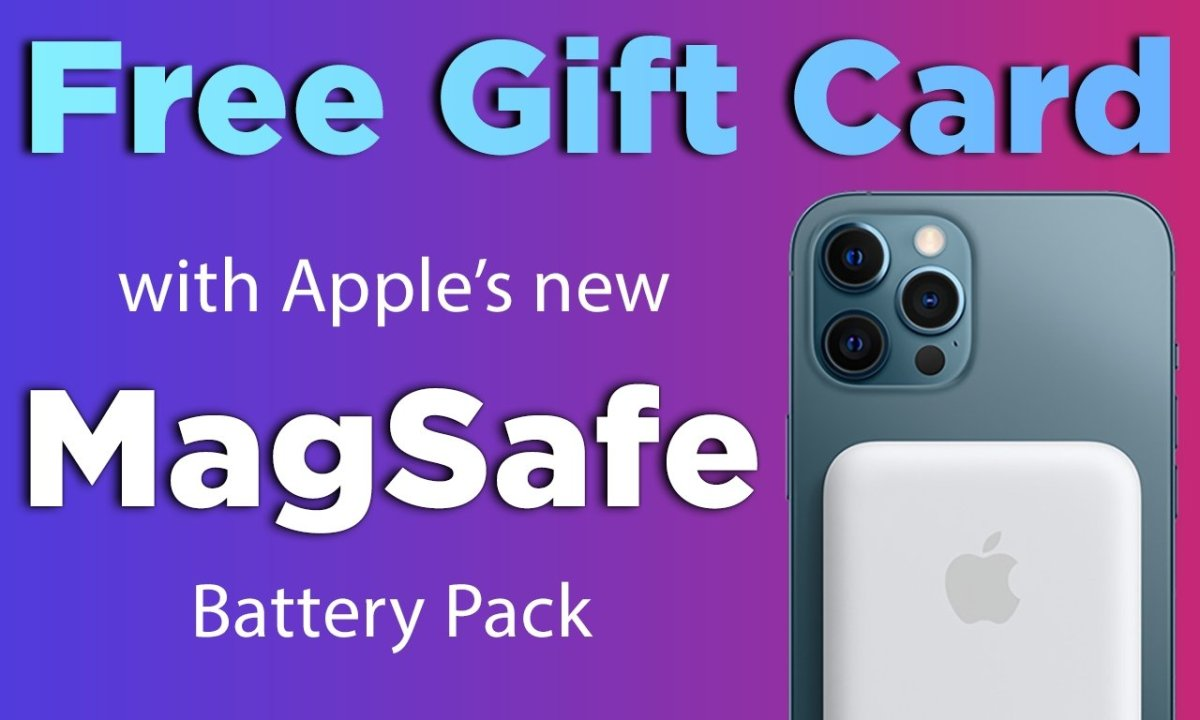 Apple MagSafe Battery Pack for iPhone 12 with free gift card text