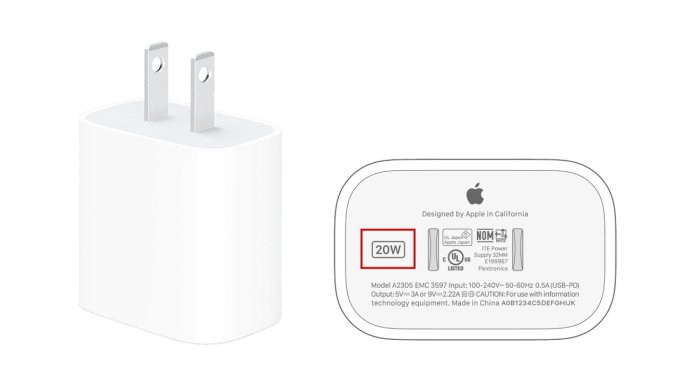 Wattage label outlined in red | Image Credit: Apple