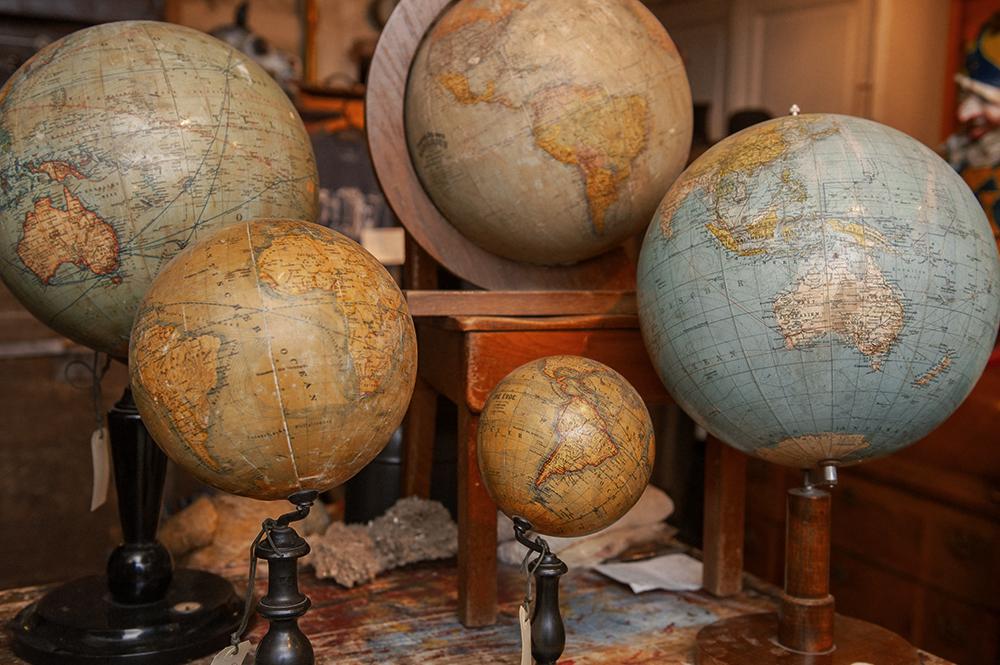 vintage, globes, mikes werkstatt