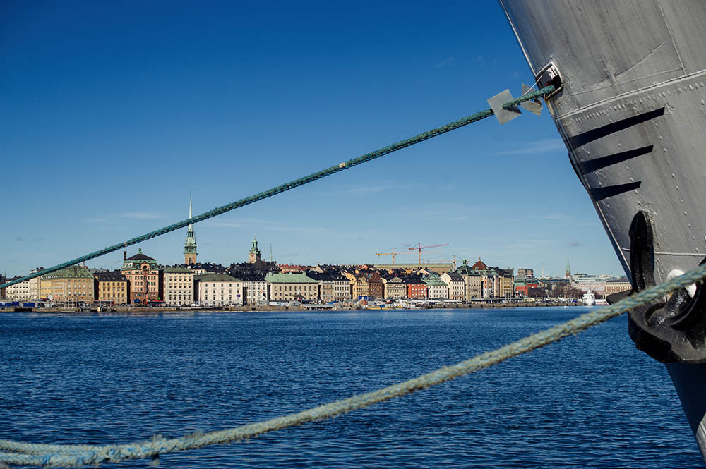 Stockholm, gamla stan, view, city, sea, ship
