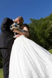 Low angle Bride and Groom