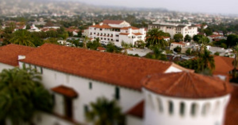 Closeup View Tilt Shift Santa Barbara Courthouse