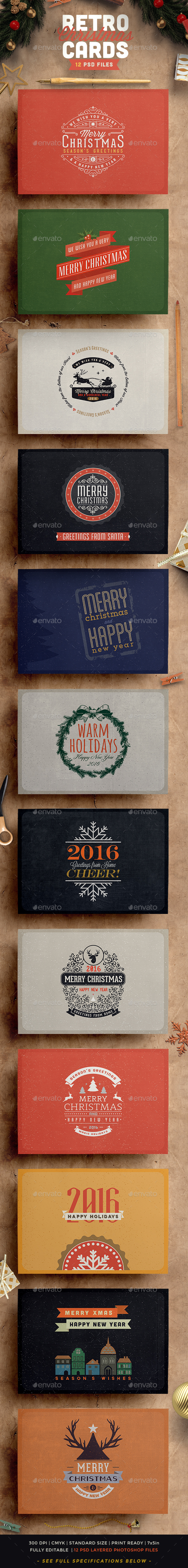 Preview - Retro Vintage Christmas Card Pack