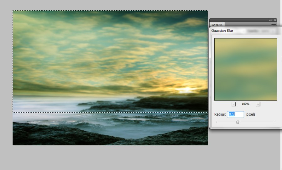 step-2-duplicate-background-select-the-sky-part-and-apply-gaussian-blur