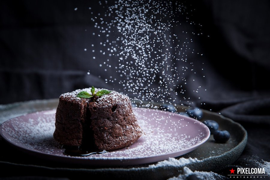 Blackberry chocolate cake food photography