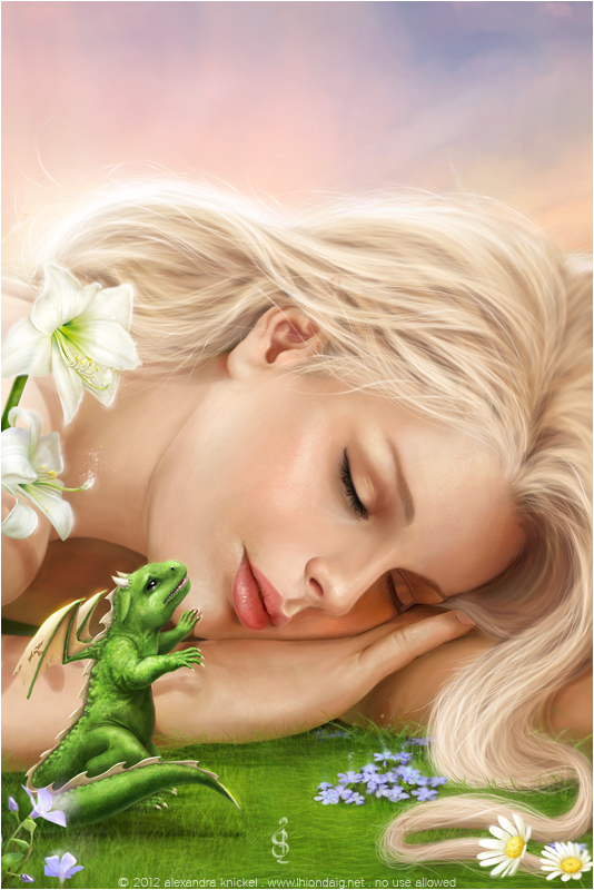 fantasy painting of a girl sleeping dragon