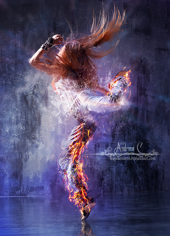 photo manipulation of a girl fire