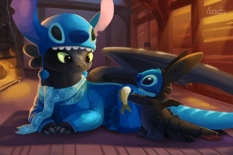 Stitch and Toothless having a jammy jam