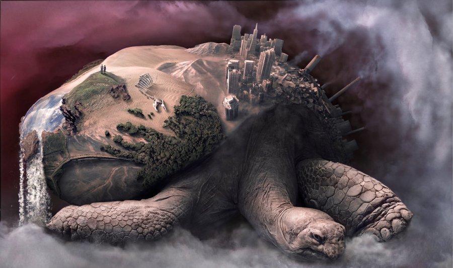 surreal tortoise cityscape
