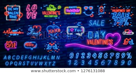 valentines day neon sign 3d