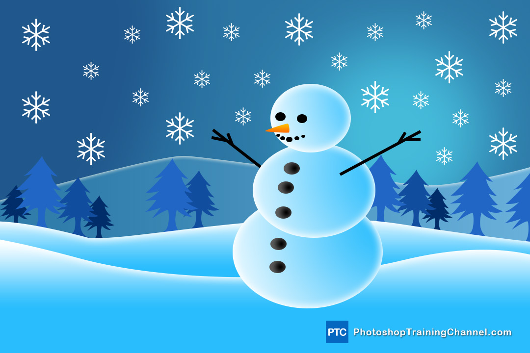 Snowman Holiday Greetings Card Illustration In Photoshop